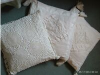 3 cream cushion 42x42cm pads included