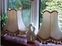 2 vintage tassel shades (ceiling or lamp fixings) 27x27cm each