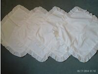 4 cream cushion covers zipped, 37x37cm not including frills