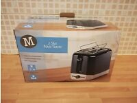 MORRISONS 2 slice stainless steel toaster black new unused