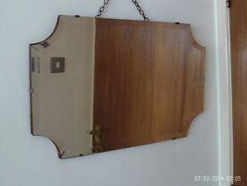 antique bevelled edge mirror 61 x 41 cm