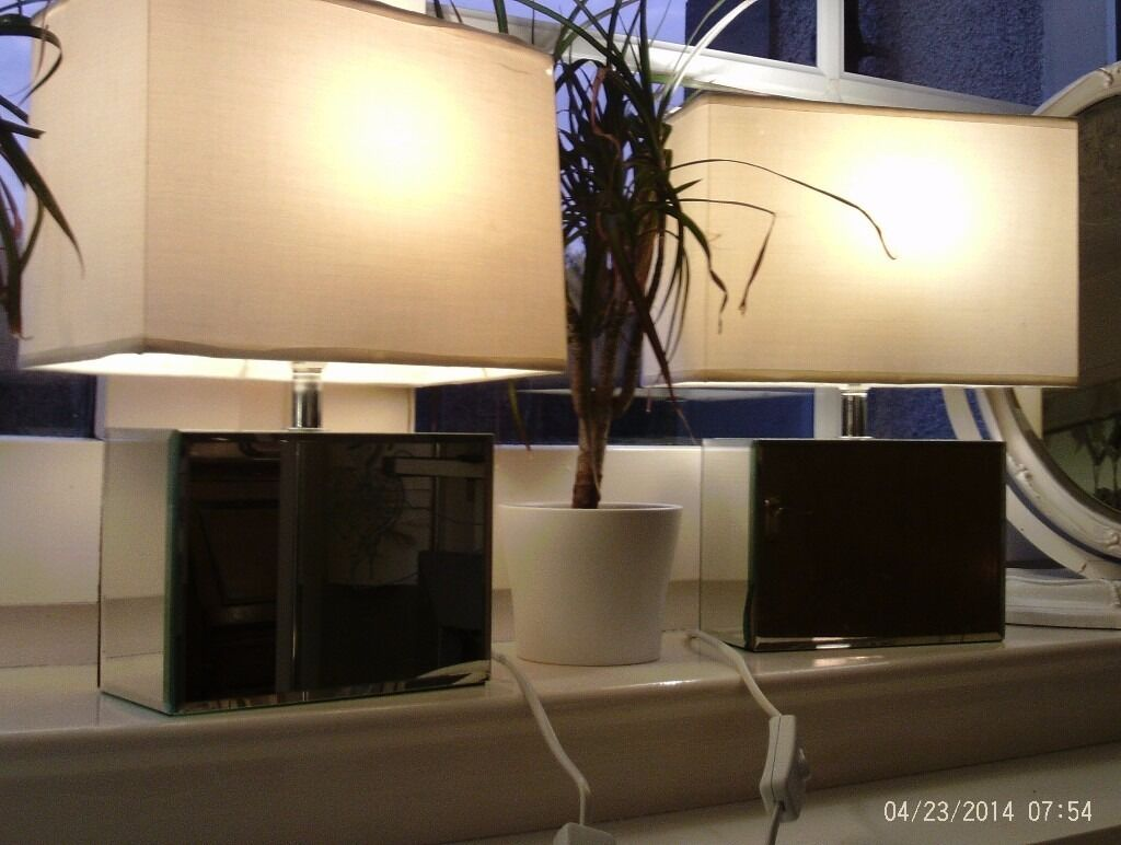 2 square mirror table lamps & shades