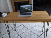 Stunning oak desk with hairpin legs - industrial style computer table with thick wood