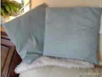 pair faux suede pale green cushions 50x50cm