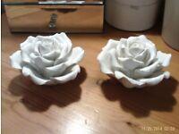 2 JOHN LEWIS white china heavy roses