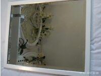 antique heavy white wooden bevelled edge mirror 55 x 45 cm
