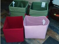 Childrens storage boxes - IKEA - green, pink and red