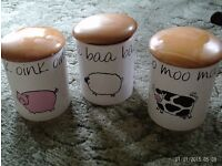 3 china food cannisters - farmyard designs