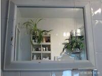 white wooden rustic mirror 64 x 54 cm