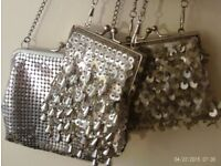 3 silver clip purses / shoulder bags