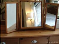 triple wooden dressing table mirror 65 x 52 cm