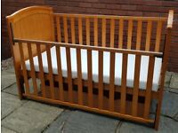 cot & junior bed + waterproof mattress. Drop-side. Coverts to junior bed. can sell without mattress