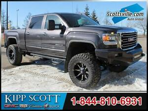 "2015 GMC Sierra 2500HD SLT, 8"" Lift, Custom Wheels, Push Bar"