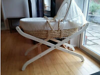 Mothercare moses basket with stand & two mattresses
