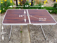Camping / picnic fold down table (teak effect)