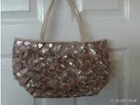 leather beige hand bag