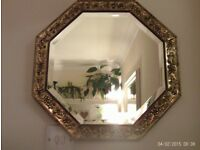 antique gold bevelled edge mirror 44x44cm