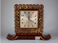 FRENCH CERAMIC LE POET LAVAL 8 DAY MANTEL CLOCK C1950 WORKING