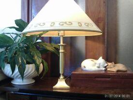 brass lamp , shade & new bulb 45x42cm