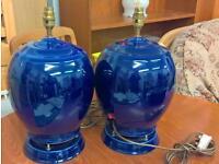 Pair of blue ceramic lamp speakers G67