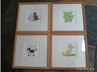 4 x limited edition framed colour prints of dogs signed by artist