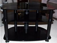Black/Silver Glass TV Stand.
