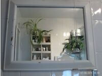 white wooden rustic mirror 64 x 54 cm