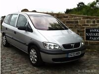 Vauxhall Zafira Club In Silver, 2000 X reg, Last Owner Since 2004, 7 Seater With Service History