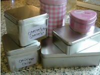 6 storage tins with lids