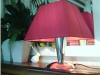 chrome lamp & burgundy shade 40x32cm