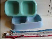 3 new collars (unused) & 2 pet feeding dishes