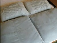 4 suede effect pale green zipped cushions 50x50 & 44x32cm