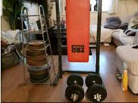 weights bench and cast iron weights 100kg 2 bars and curl bar and clips 2 dun bells