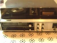 Record Player & Eight Track Player Sanyo combined stereo unit need work project for enthusiast
