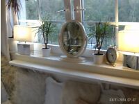 2 matching square mirror table lamps