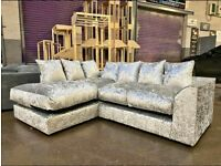 BRAND NEW L/H SILVER CRUSHED CORNER SOFA COMES FREE DELIVERY ALL FOR £269.99