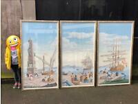 Three Huge European Framed Original Watercolour Paintings