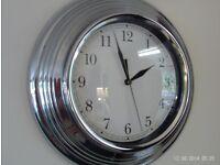 DEBENHAMS chrome wall clock 29cm