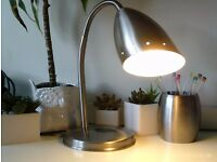 adjustable brushed steel spot with table lamp & pencil pot