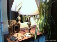 heavy brass table lamp & double photo frame
