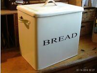white rustic enamel bread bin