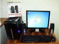 Packard Bell Desktop Computer HDMI , Dell Monitor WIFI Speakers Keyboard Mouse Bundle