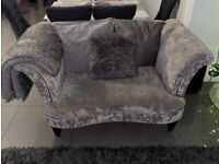 Crushed valvet sofa for sale, large 4 seater, cuddle chair and foot stool