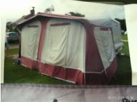 PYRAMID CARAVAN AWNING SOLATEX 290 750 X 825 RED VGC USED 3 TIMES BARGAIN £85 FOR QUICK SALE !!!