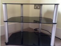 Black Glass TV Stand - John Lewis - 3 Tier