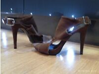 brown suede effect heels size 6