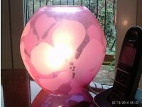 NEW large pink round glass table lamp 22 x 22 cm