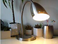adjustable brushed steel spot light and pencil pot
