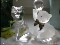 2 crystal glass cat ornaments