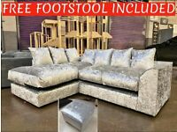 NEW LEFT HAND SILVER CRUSHED VELVET CORNER SOFA INC FREE FOOTSTOOL & FREE DELIVERY ALL FOR £319.99
